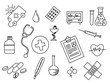 healthcare doodle black and white with outline style vector