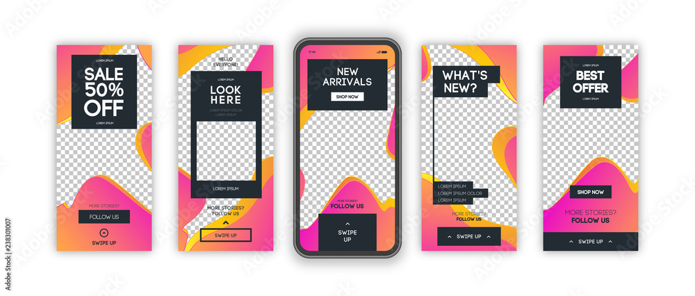 Fototapety, obrazy: Vector instagram stories template set with liquid abstract modern gradient background for banner sale, presentation, flyer, poster, invitation. Screen backdrop for mobile app. Streaming. 10 eps