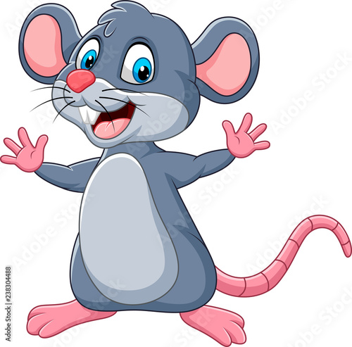 Fototapeta Cartoon happy mouse waving