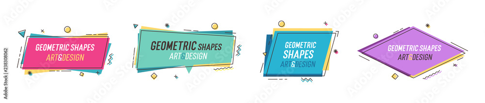 Fototapety, obrazy: Geometric shapes with abstract elements and place for text. Vector graphic design illustrations for advertising, sales, marketing, design and art projects, posters,