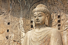 Longmen Grottoe : The Buddha Sculpture Of Fengxian Cave (or Li Zhi Cave) The World Heritage Site, Chinese Buddhist Art. Located In Louyang, Henan Province China. Selective Focus.