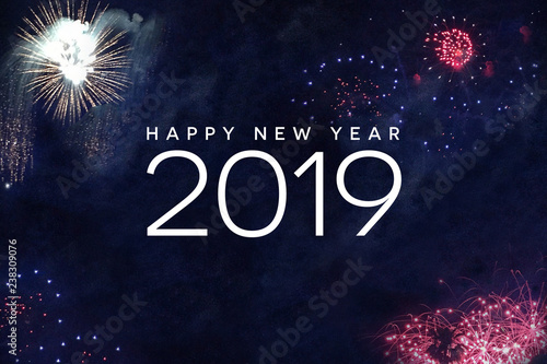 Fotografía  Happy New Year 2019 Celebration Text with Festive Fireworks Collage in Night Sky