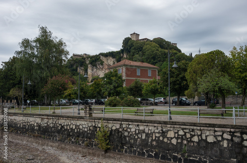 Valokuva  Rocca di Angera castle, view out off Angera town's embankment of lake Maggiore,