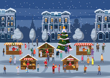 Christmas Fair, Market On Town Anthropomorphic Set Of Animals In Human Winter Clothes Coats, Jackets, Shoes, Slippers, Bear, Cat, Deer, Horse, Rabbit, Hare, Fox, Elk, Winter, Snow. Vector, Flat Style