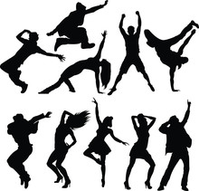 Ten Silhouettes Of Dancing Peo...