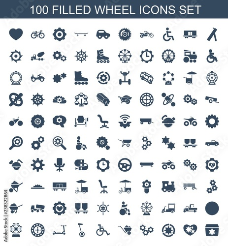 100 wheel icons Wallpaper Mural