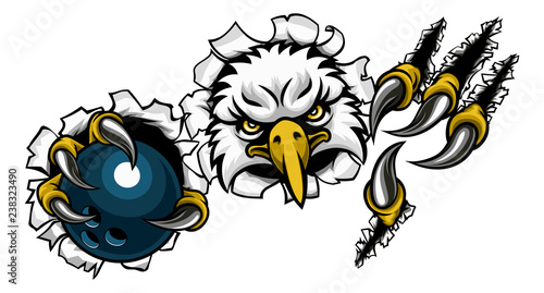 Valokuva An eagle bird bowling sports mascot cartoon character ripping through the backgr