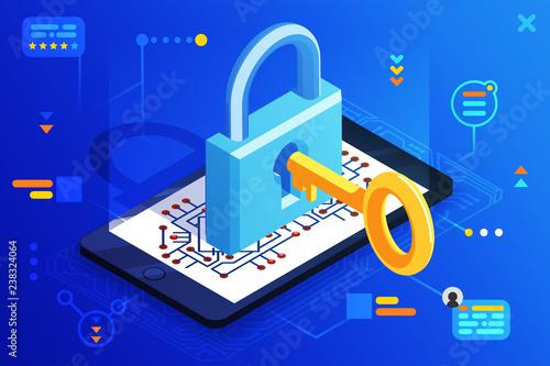 Mobile web security smartphone access isometric 3d key technology digital lock i Wallpaper Mural