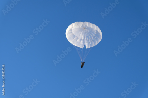 Canvas Print A military paratrooper is landing.