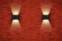Brick Wall Room With Vintage Sconce Lamps