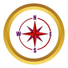 Red Compass Rose Vector Icon In Golden Circle, Cartoon Style Isolated On White Background
