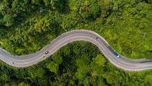 Aerial View Road Curve Constru...