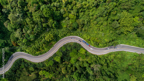 Valokuva  aerial view road curve construction up to mountain