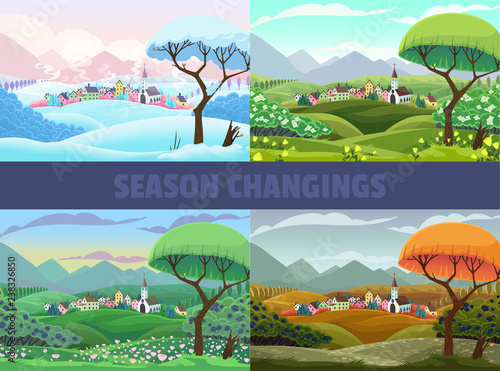 In de dag Groene koraal Four seasons of village view: spring, summer autumn and winter. Vector cartoon landscape