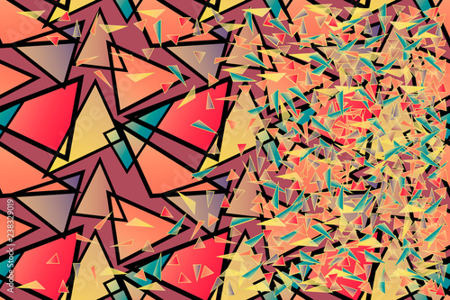 Fotografie, Obraz  Vector abstract geometric background chaotic multitude of gradient big and small bright red, pink, purple, yellow, blue triangles for desing, wallpaper, cover page, web site, card, business banner