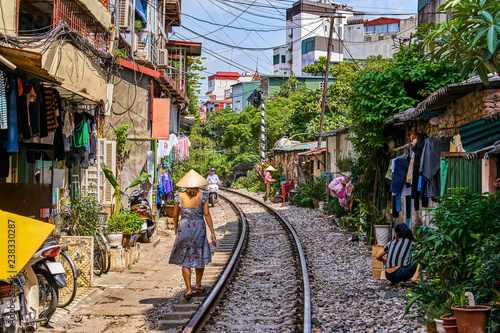 Hanoi city railway Perspective view running along narrow street with houses in Vietnam