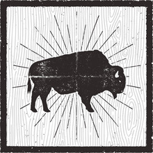 Bison Icon Silhouette. Retro Letterpress Effect. Buffalo Symbol With Sunbursts Isolated On Retro Background Card. Use For Steak House Logo, Infographics, Logotype. Vector Design