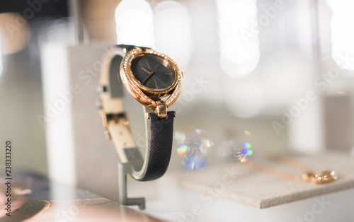 Watches in a luxury store