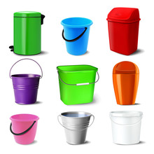 Bucket Set Vector. Bucketful D...