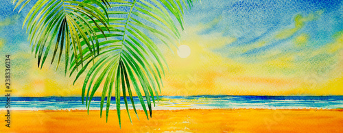 Colorful watercolor painting on paper of seascape. Fototapeta