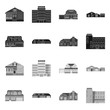 Vector illustration of building and front logo. Collection of building and roof stock vector illustration.