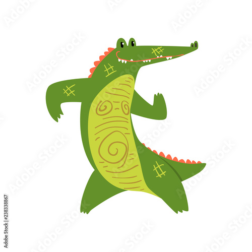 Leinwand Poster Friendly crocodile standing on two legs, funny predator cartoon character vector