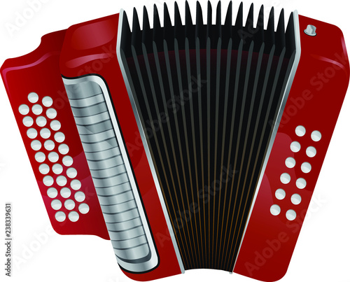 Fotomural Traditional music instrument. Red accordion vector element.