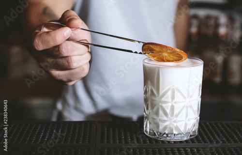 Poster Cocktail bartender making a milkshake
