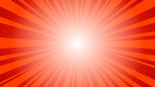 Comic Red Sun Rays Background Pop Art Retro Vector Illustration Kitsch Drawing.