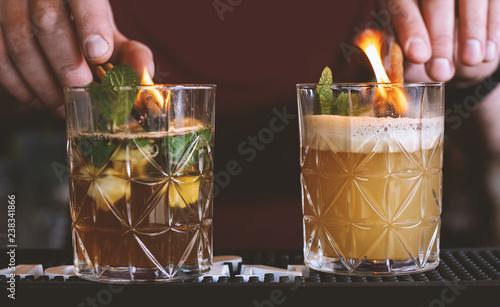 Poster Cocktail Barman makes cocktails