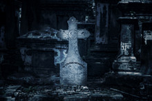 The Ancient Tombstone With Cro...