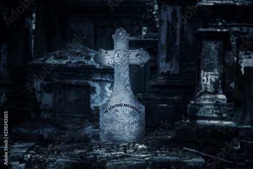 Canvas Prints Cemetery The ancient tombstone with cross at night with moonlight, on background the cemetery.
