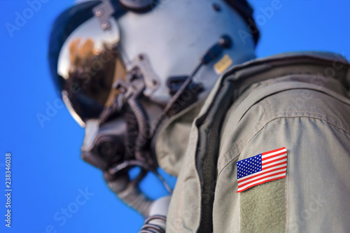 Photo Jet aircraft pilot flight suit uniform with United States USA flag patch