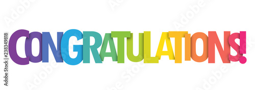 Obraz na plátně  CONGRATULATIONS Bright and Colorful Vector Letters Banner