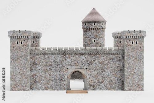 Leinwand Poster Realistic 3D Render of Medieval Castle