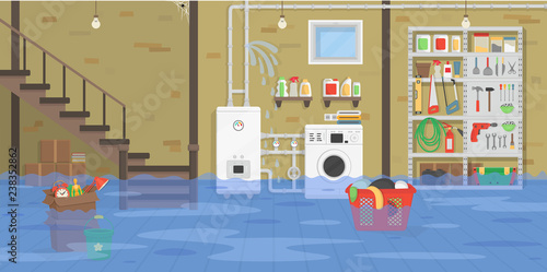 Interior flooded basement with boiler, washer, stairs, shelf with tools Wallpaper Mural