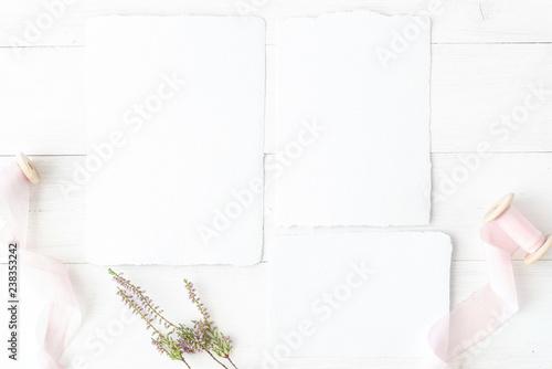 Wedding Flat Lay Birthday Desktop Mock Up Invitation Card
