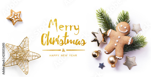Fotografie, Obraz  Christmas greeting card; Christmas element on white background; top view;