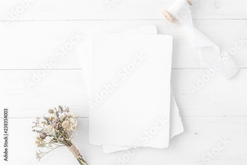 Feminine Wedding Birthday Desktop Mock Up Invitation Card Mockup