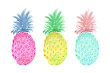 Set Of Three Pineapples