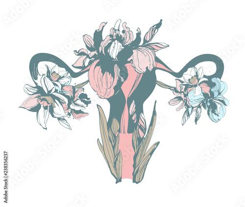 Fényképezés Woman blooming reproductive system uterus hand drawn floral pattern