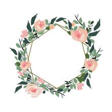 Floral Wedding Invitation Elegant Invite Card Vector Design: Garden Flower Pink, Peach Rose, White Wax Anemone Green Eucalyptus Tender Greenery, Berry Bouquet, Golden Geometric Print Frame, Copy Space