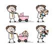 Cartoon Professional Businessman babysitting
