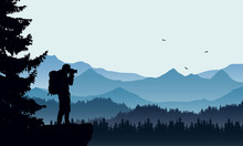 Realistic Illustration Of A Mountain Landscape With Coniferous Forest And Photographers Tourist With Backpack, Under A Blue Sky With Three Flying Birds, Vector