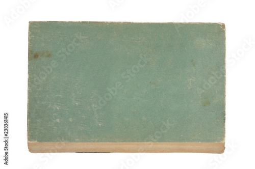 Old green book isolated on white background. View from above.