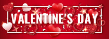Valentines Day Horizontal Banner With Shining Red And White Hearts, Ribbons, Stars And Colorful Balls. Holiday Card Illustration On Red Background