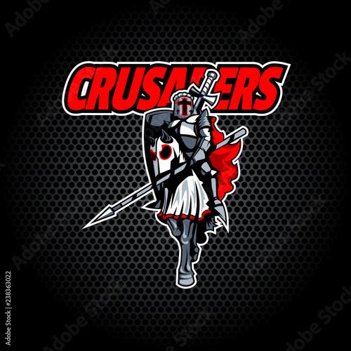 Photo  Proud Crusader knight on horseback.