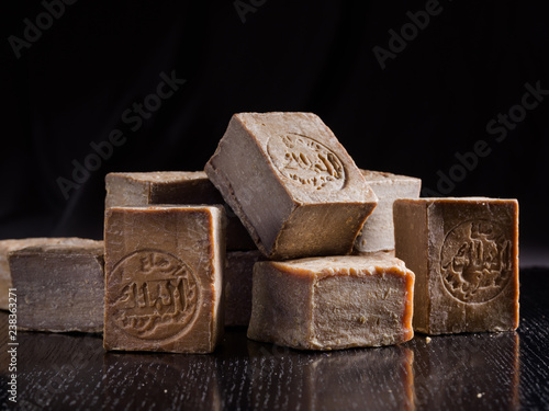 Cuadros en Lienzo A pile of dried Aleppo soaps, handmade in Syria from traditional methods, with Al Malak manufacturer stamp imprinted