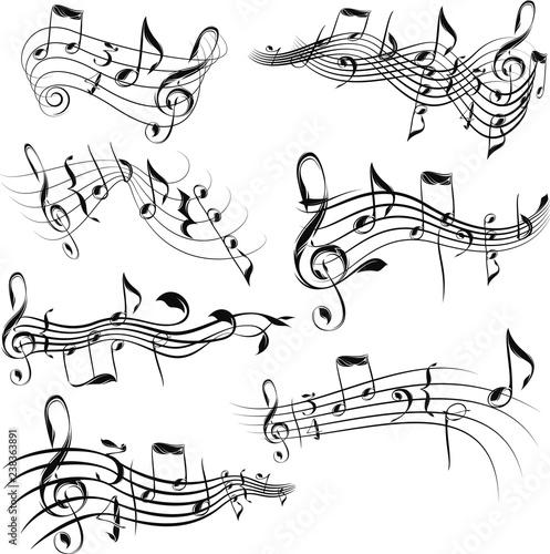 Fotografie, Obraz  Monochrome tangled musical scores