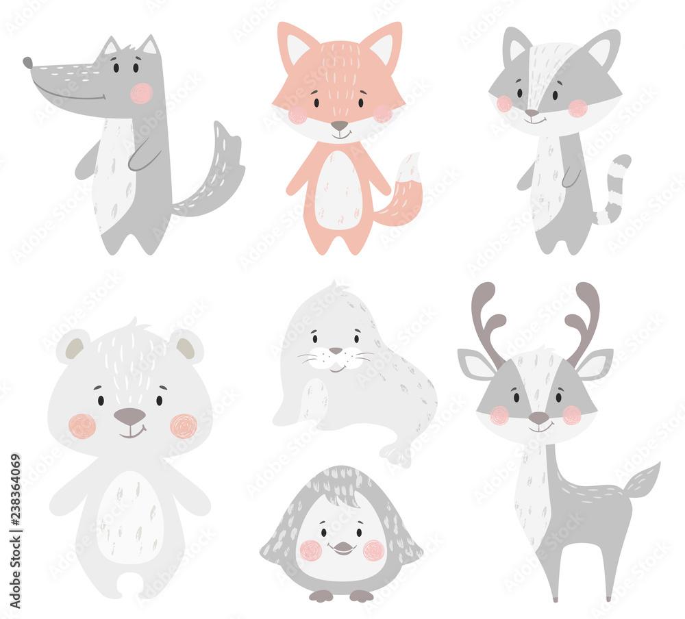 Fototapeta Reindeer, raccoon, seal, wolf, penguin, bear, fox baby winter set. Cute animal illustration